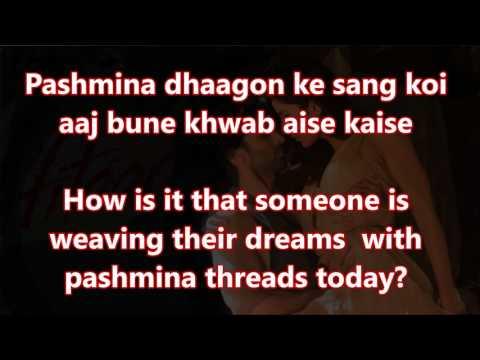Pashmina Dhaagon Ke Sang Fitoor (Timed Lyrics) English Translation (No Music)