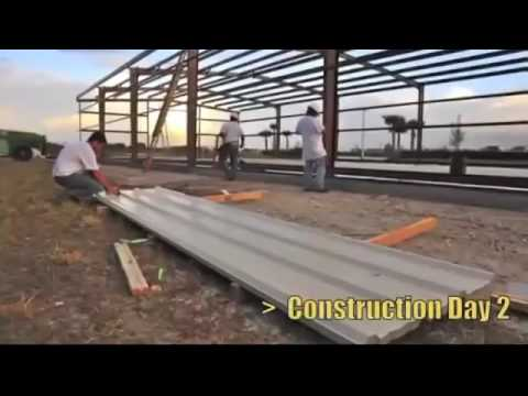 prefabricated steel structure warehouse workshop construction video