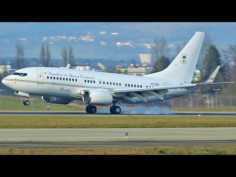 [FullHD] Equatorial Guinea Government Boeing 737-700(BBJ) landing at Geneva/GVA/LSGG