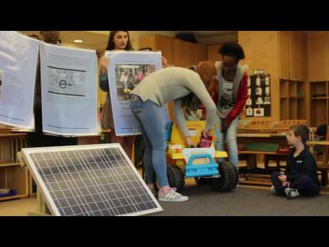 Greenwich High School Innovation Lab students demonstrate solar powered car at Whitby School