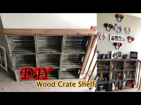 Wooden Crate Shelves DIY