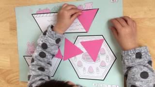 """めばえコースの""""正三角形遊び""""です めばえ教室で頻繁に使う型を組み合わ..."""