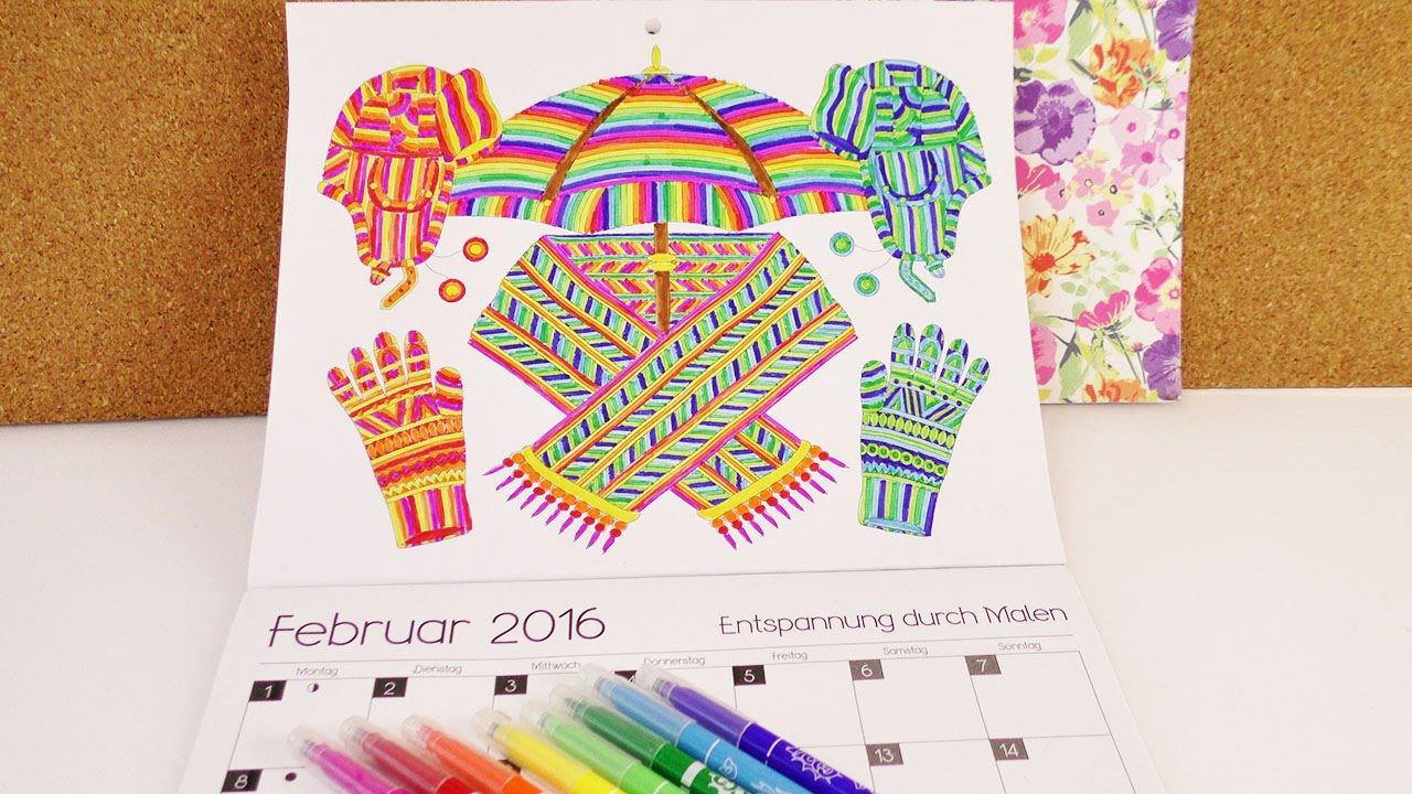 Speed Colouring Ausmal Kalender Februar 2016 Regenbogen Bild