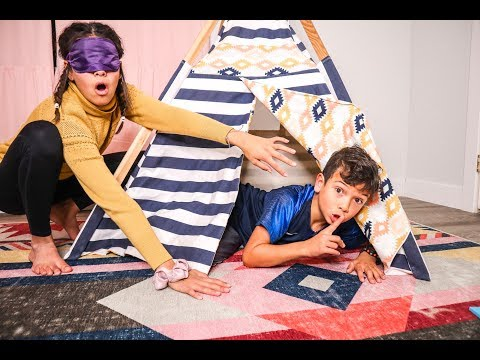 Blindfold HIDE & SEEK in the LITTLE GIRLS ROOM!