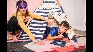 Blindfold HIDE & SEEK in the LITTLE GIRLS ROOM!
