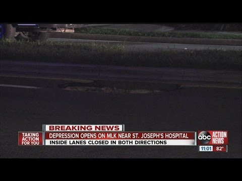 Depression in roadway closes lanes of Martin Luther King Jr. Blvd. in front of St. Joseph's Hospital