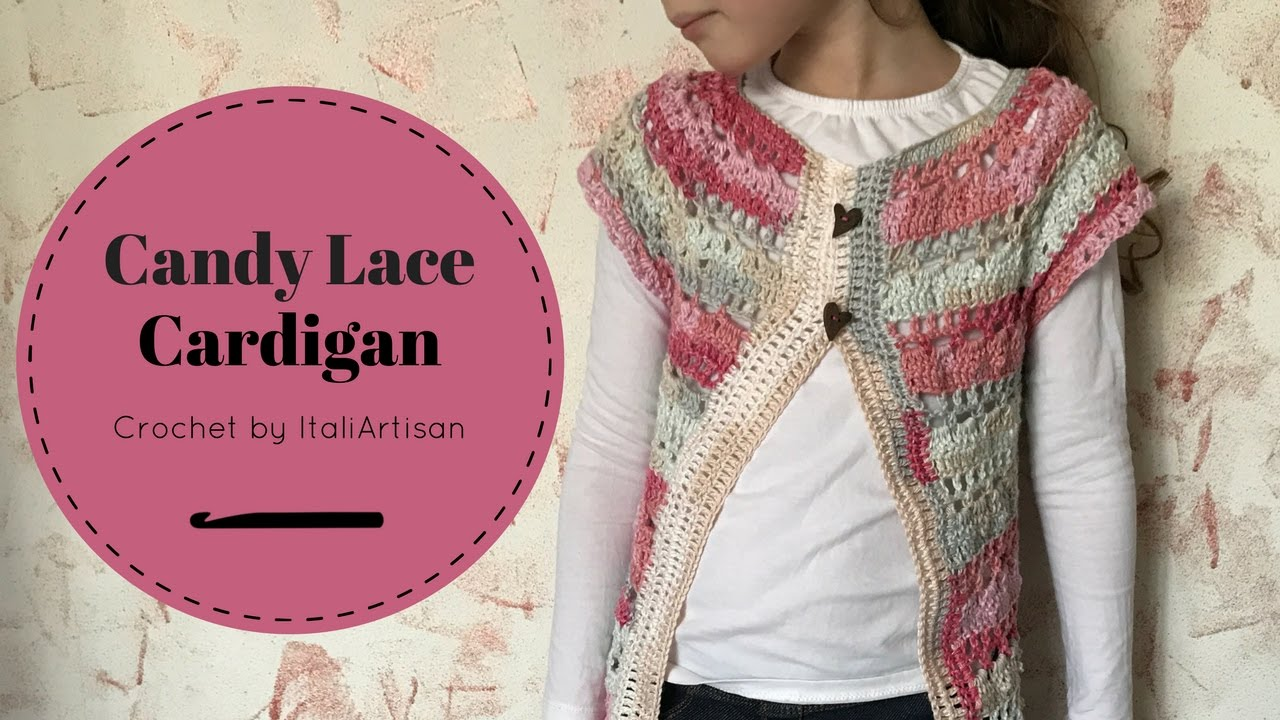 Estremamente Candy Lace Cardigan, Cardigan da bimba all'uncinetto, Video  PG96