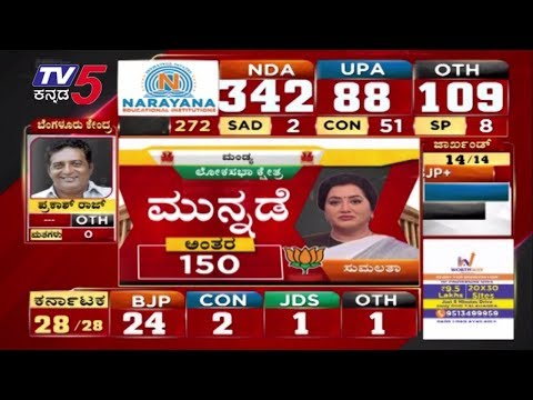 ಮಂಡ್ಯದಲ್ಲಿ ಪಕ್ಷೇತರ ಅಭ್ಯರ್ಥಿ ಸುಮಲತಾ ಮುನ್ನಡೆ | Sumalatha | Mandya | TV5 Kannada
