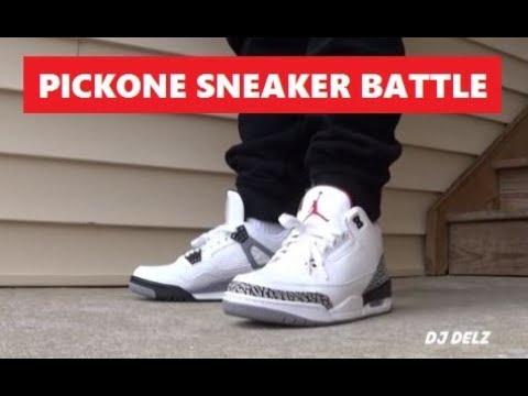release date: 058c5 9de53 Air Jordan White Cement 3 VS 4 Retro Sneakers On Feet PICKONE SNEAKER BATTLE