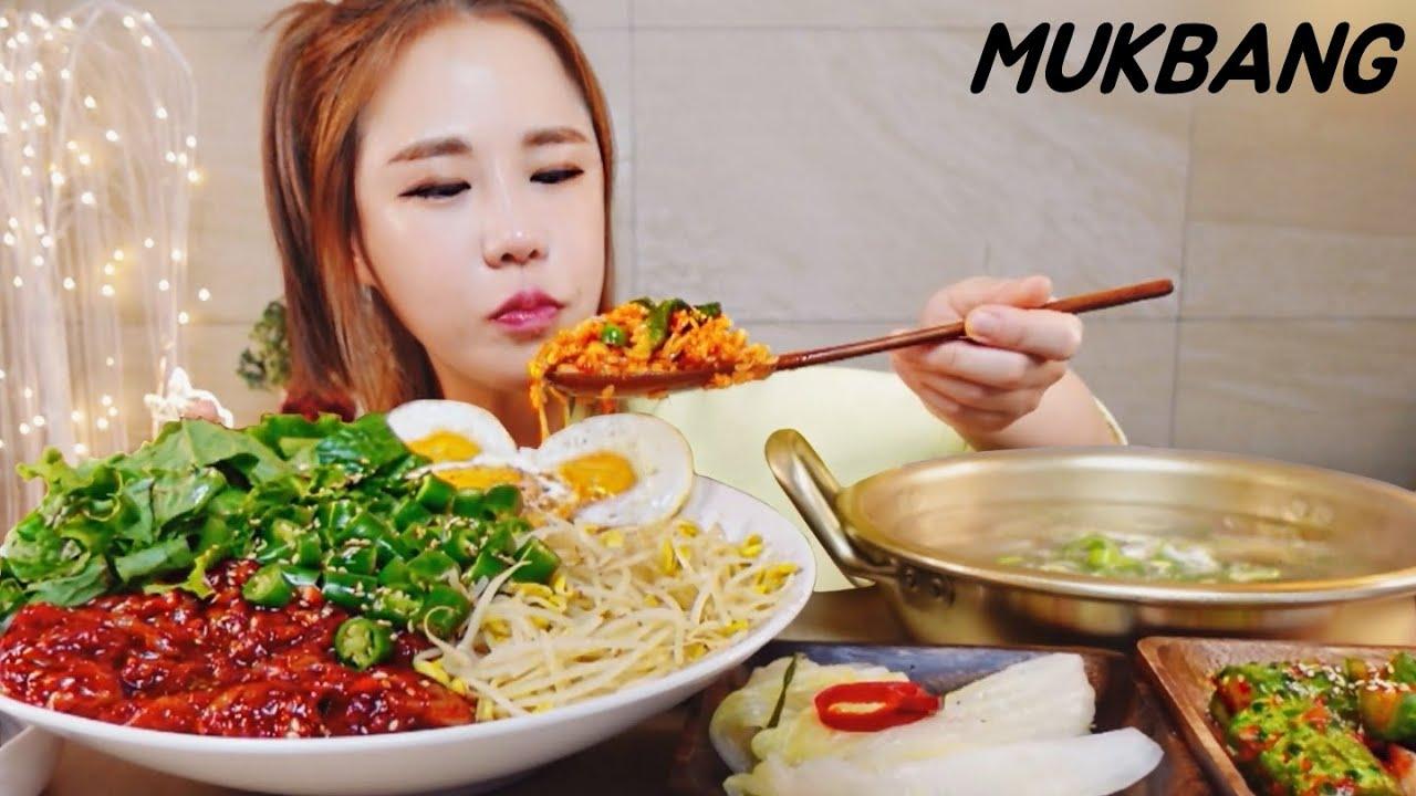SUB) 땡초듬뿍 젓갈비빔밥 소고기뭇국 오이소박이 한식먹방 MUKBANG ASMR eating show