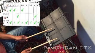 Yamaha Dtx Multi 12 by pavithran thadiparthi Telugu version Learning 4/4 drum beat