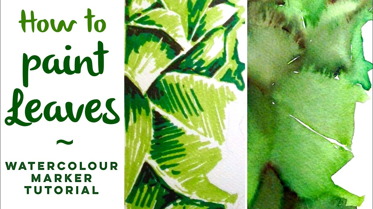 Aquamarkers How to paint leaves  watercolour marker painting tutorial  YouTube