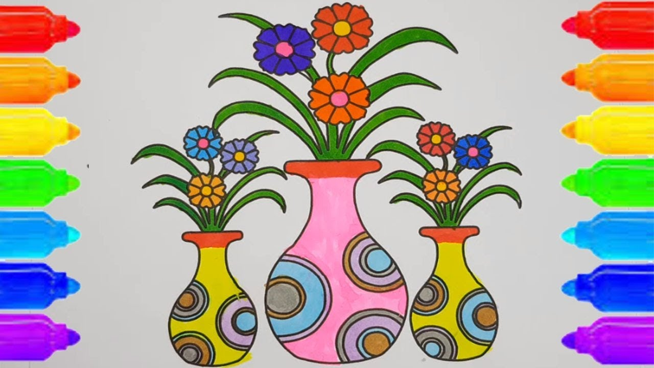 How To Draw A Very Easy Flower Vase With Flower For Kids Step By