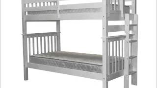 Bedz King Tall Mission Style Bunk Bed With End Ladder, Twin Over Twin, White