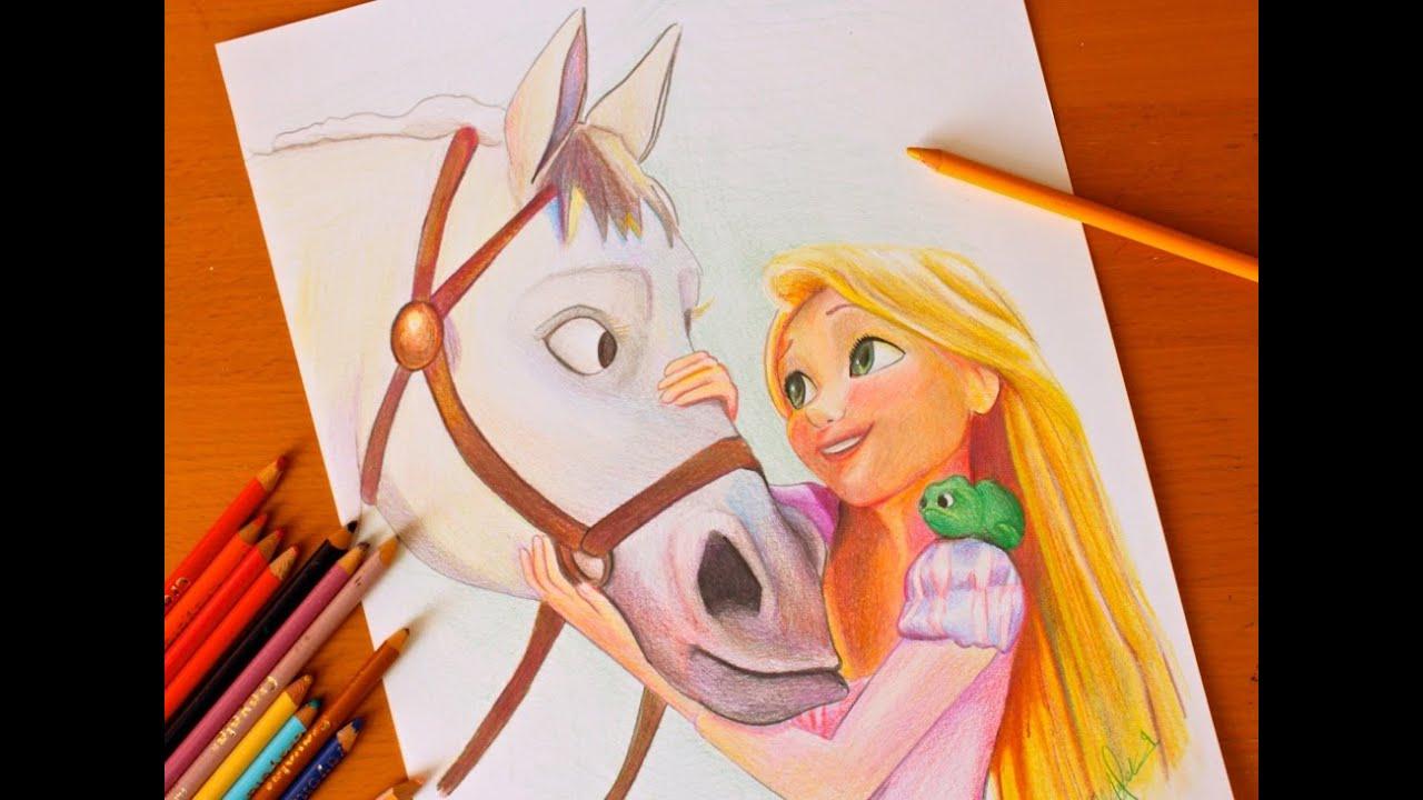 Drawing PRINCESS RAPUNZEL Tangled BUDGET ART YouTube