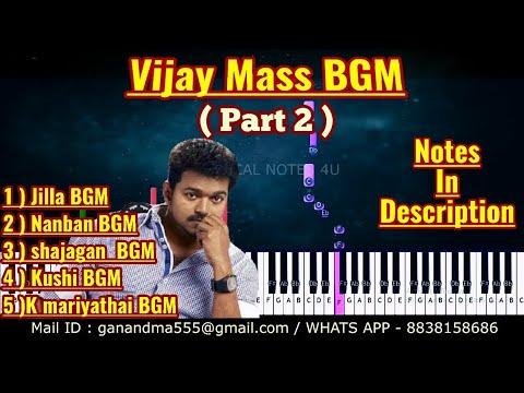 Vijay Mass BGM Part 2 Piano notes   Tutorial   keyboard   Karaoke   sheet music   cover thumbnail