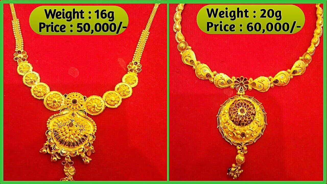Designer Gold Necklaces with Weight & Price | Latest Jewellery ...