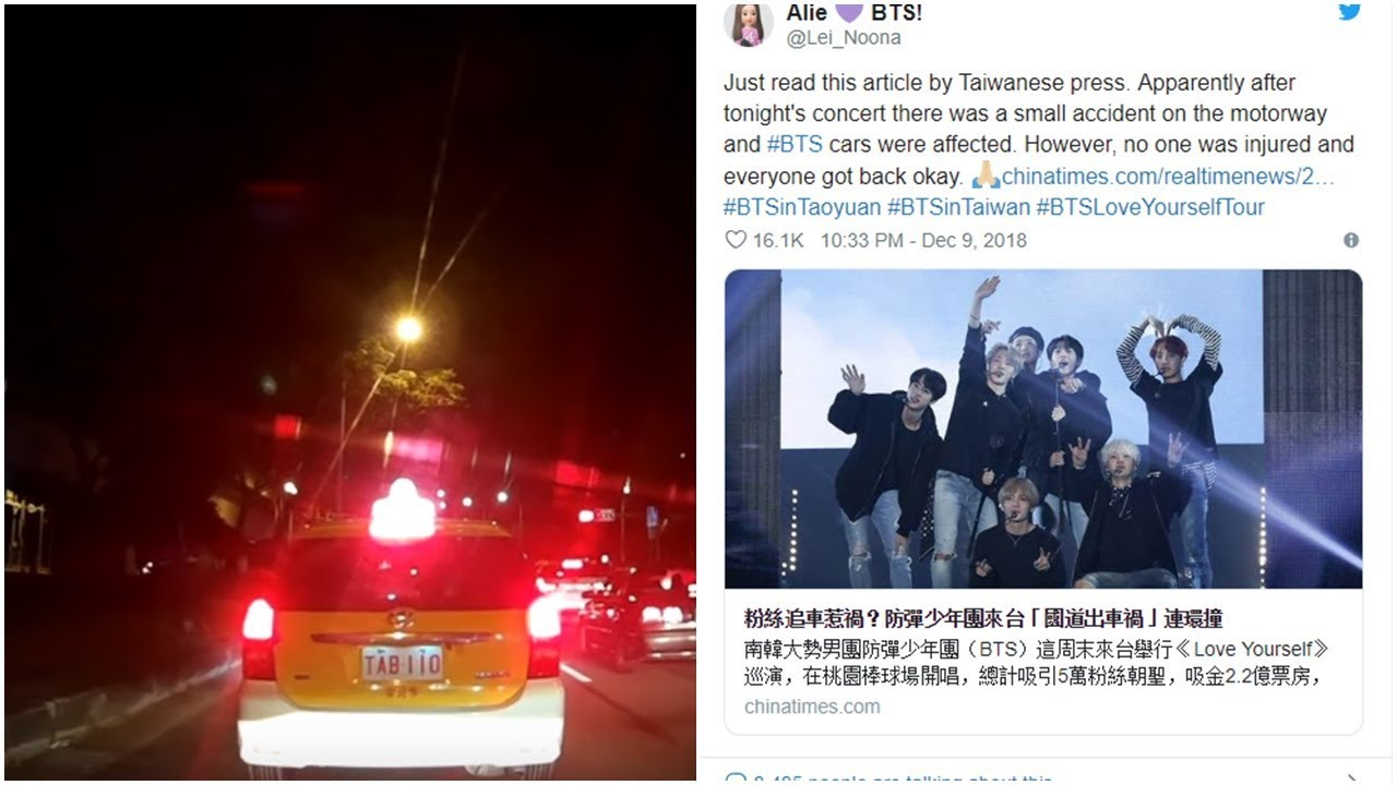 [BTS NEWS] BTS gets involved in a minor car accident after their concert in  Taiwan