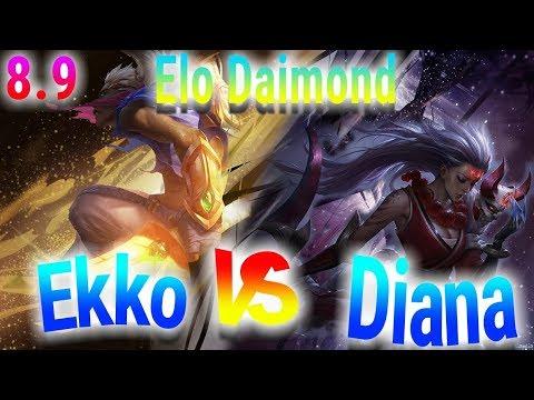 Diamond Ekko vs Diana - S8 Ranked Diamond Gameplay Patch 8.9
