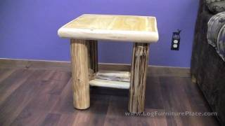 Cedar Lake Cabin Log End Table From Logfurnitureplace.com