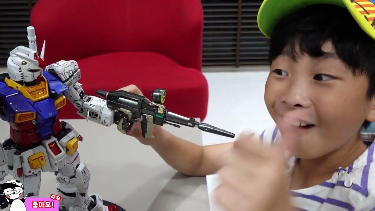 예준이의 건담 조립놀이 색칠놀이 로봇 장난감 만들기