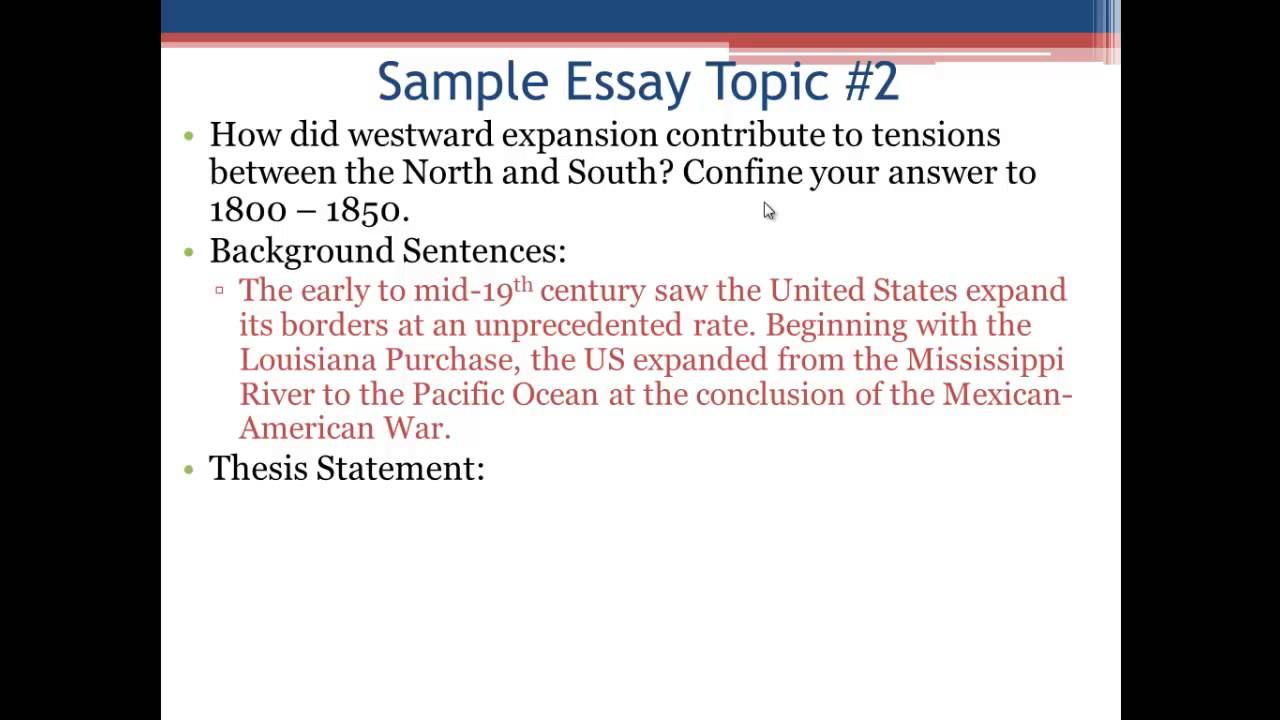 a.p. u.s. history essays Advanced placement united states history is a course and examination offered  by college  ap us history classes generally use a college-level textbook as  the foundation for the course  each thematic essay question on the ap exam  may address any one of four possible historical thinking skills: patterns of  continuity.
