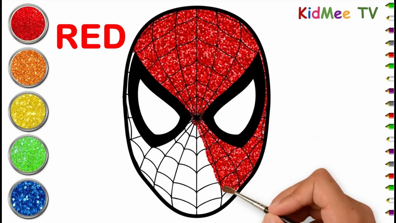 How To Draw Color Spiderman For Kids Glitters Spiderman Painting Coloring Videos For Kids Youtube