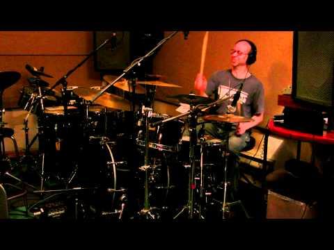 Miriodor in studio recording drums