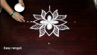 kolam designs with 7 to 1 straight dots - rangoli designs with dots - muggulu designs