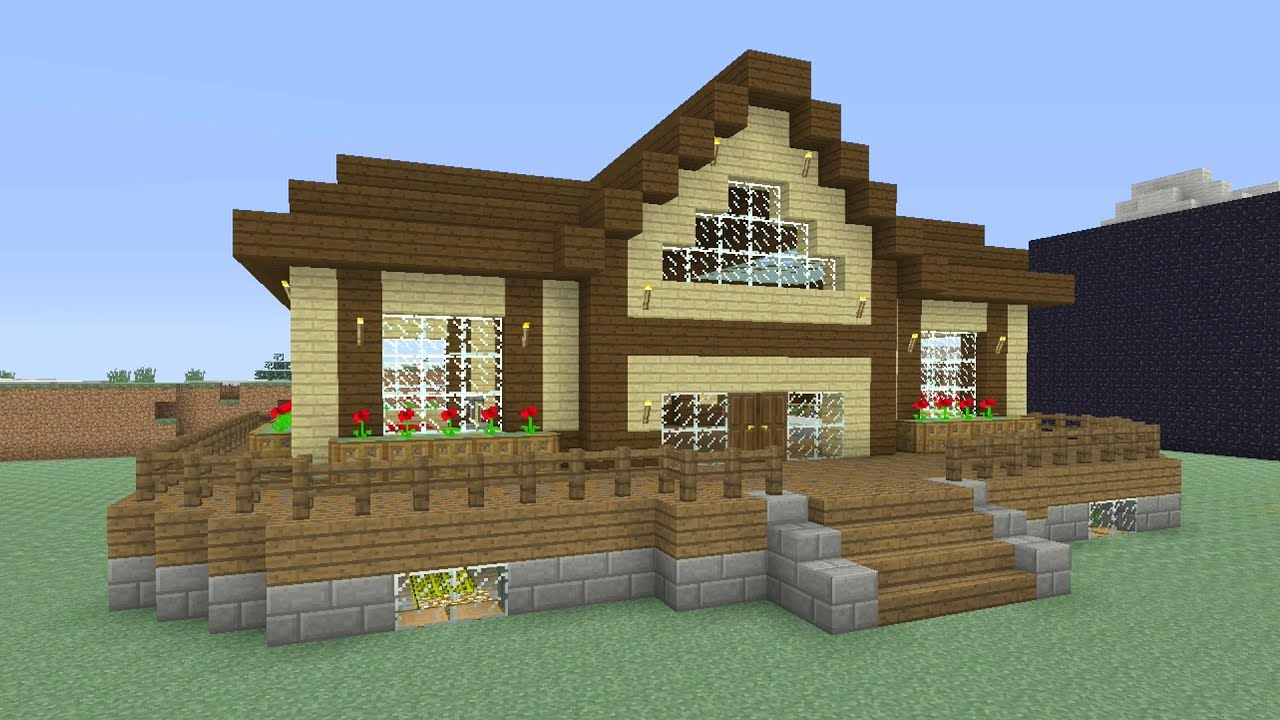 Minecraft Tutorial How To Make An Awesome Wooden Survival House 5 Ash 27 Youtube