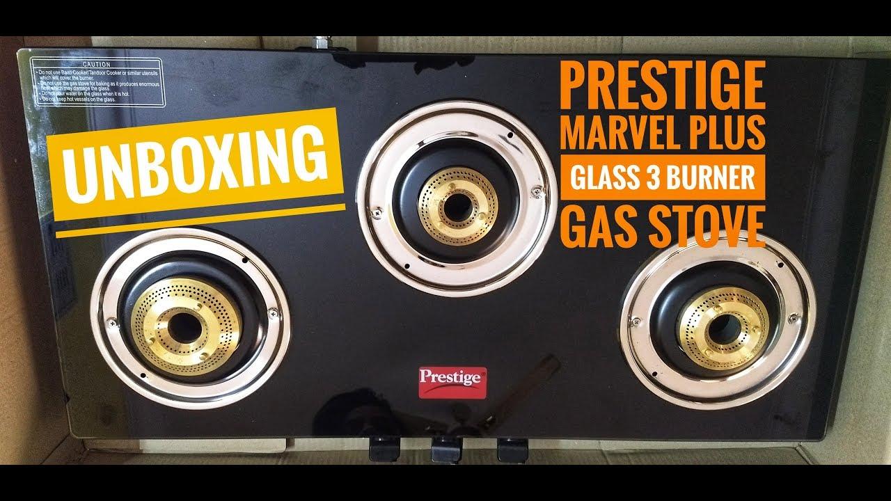 1bc4d4e76 Unboxing Prestige Marvel Plus Glass 3 Burner Gas Stove(Black ...