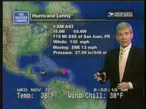 TWC Hurricane Lenny coverage 1999: Clip 3