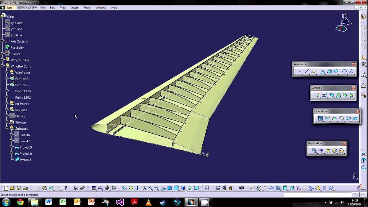 Catia V5  The Basics - Tutorial 6  Wireframe  U0026 Surfacing Part 2  U00a6 Wingbox Design