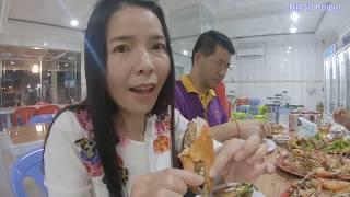 อยู่ยังไงในปอยเปต Life in  Ep139 ตอน กุ้งย่าง - บัวซีฟู้ดสาขา4 Bua seafood 4 Poipet Cambodia