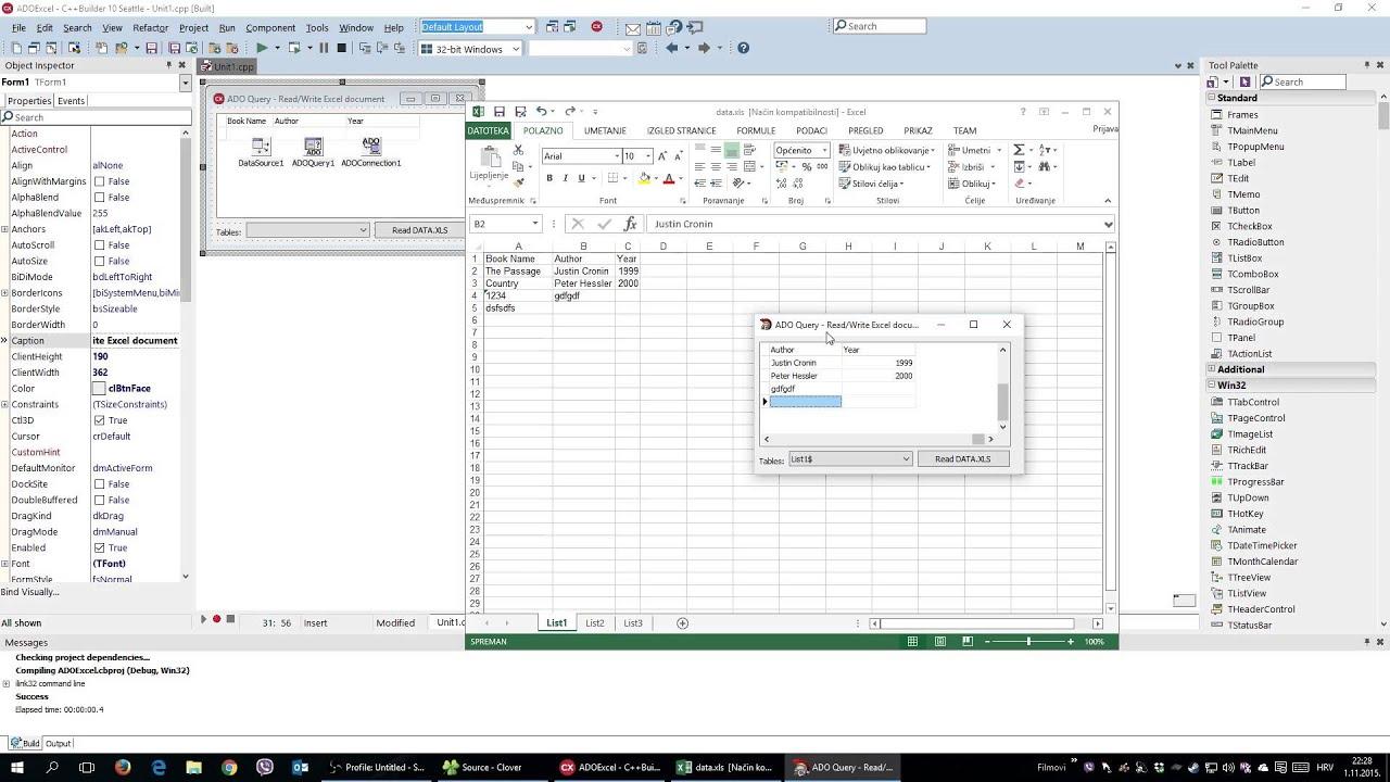 C++ Builder - Read/Write Excel Documents Using ADO