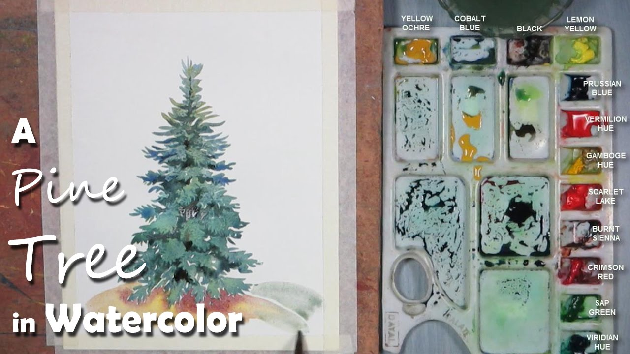 Watercolor Painting | Painting Pine/ Mountain/ Christmas Tree step ...