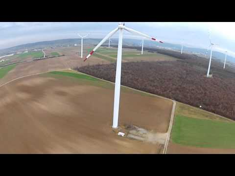 DJI Phantom with helicopter sound close to windmills