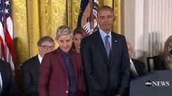 Ellen DeGeneres Presidential Medal of Freedom - Obama Gets Choked Up