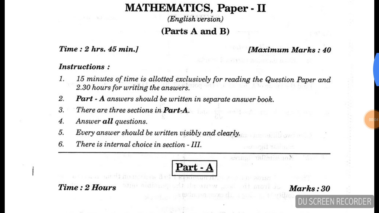 In previous question ap papers pdf class 10th