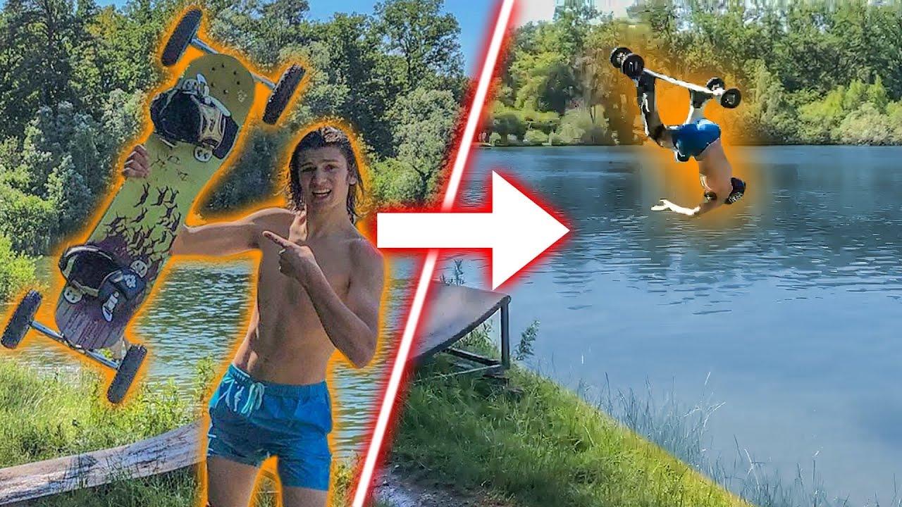 Je fais un  Waterjump avec un skate tout terrain !