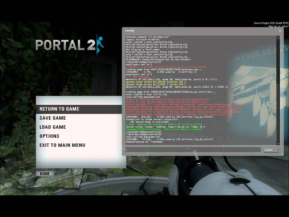 How to enable the developer console on Portal 2