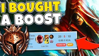 I BOUGHT A BOOST AND PRETENDED TO BE A BRONZE LEE SIN (REVEAL AT END) - League of Legends