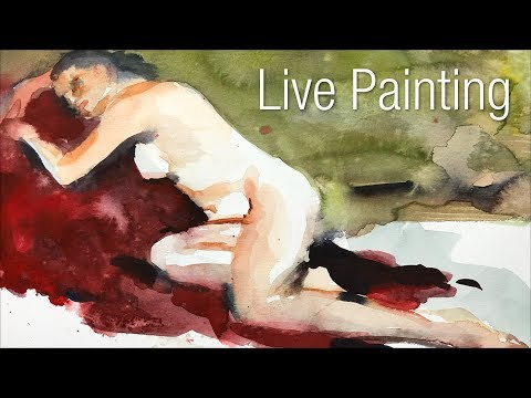Live figure painting in watercolor - Focus on Key Elements