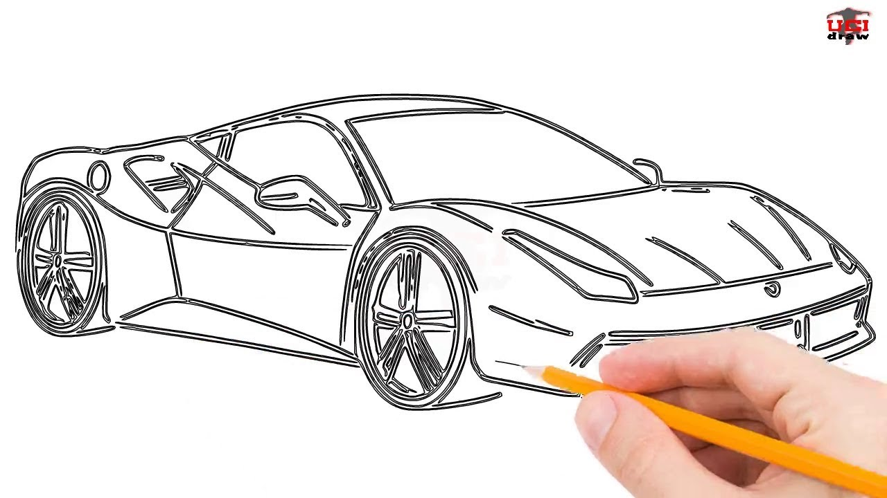 How to Draw a Ferrari Step by Step Easy for Beginners/Kids \u2013 Simple Ferrari  Drawing Tutorial