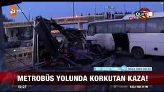 Metrobüs yolunda korkutan kaza - 12 Ekim 2017