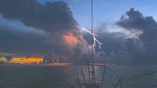Lightning, slo-motion video, on sailboat in Fl Keys