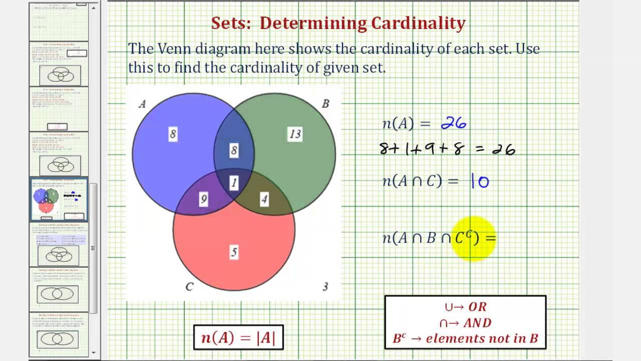 ex determine cardinality of various sets given a venn diagram of three sets youtube [ 1280 x 720 Pixel ]