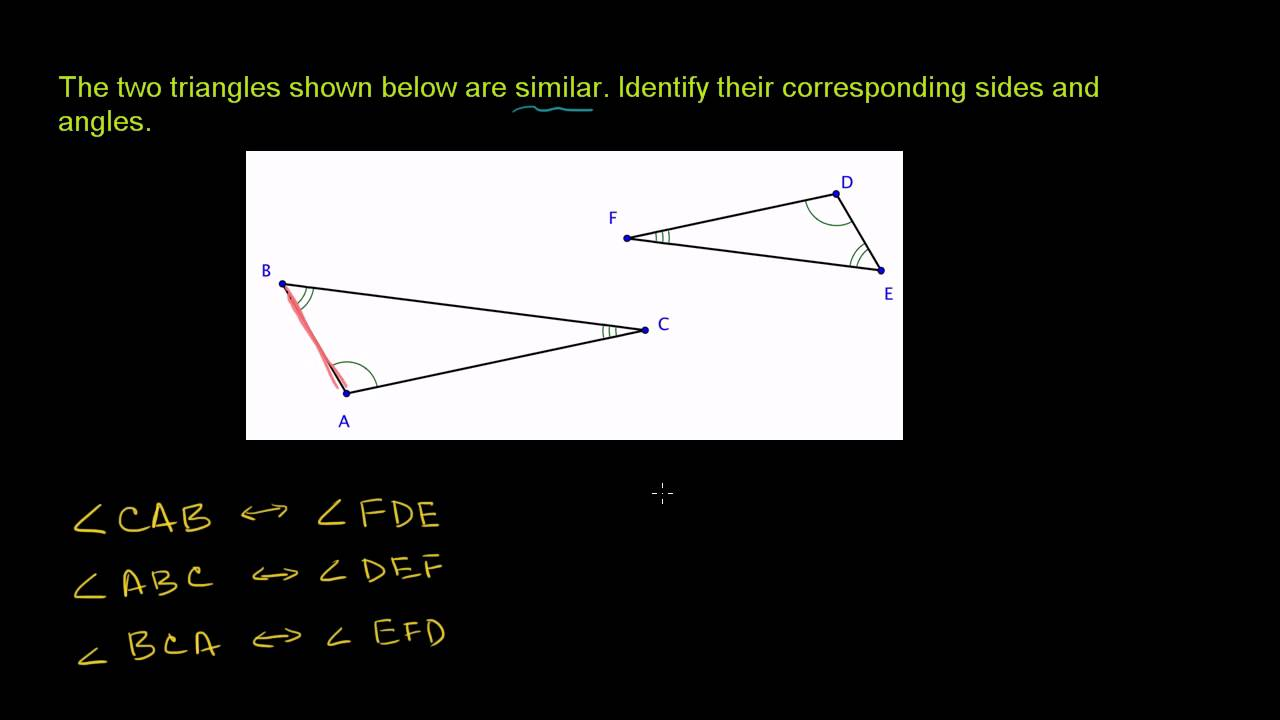 small resolution of Similar Triangles Corresponding Sides and Angles - YouTube