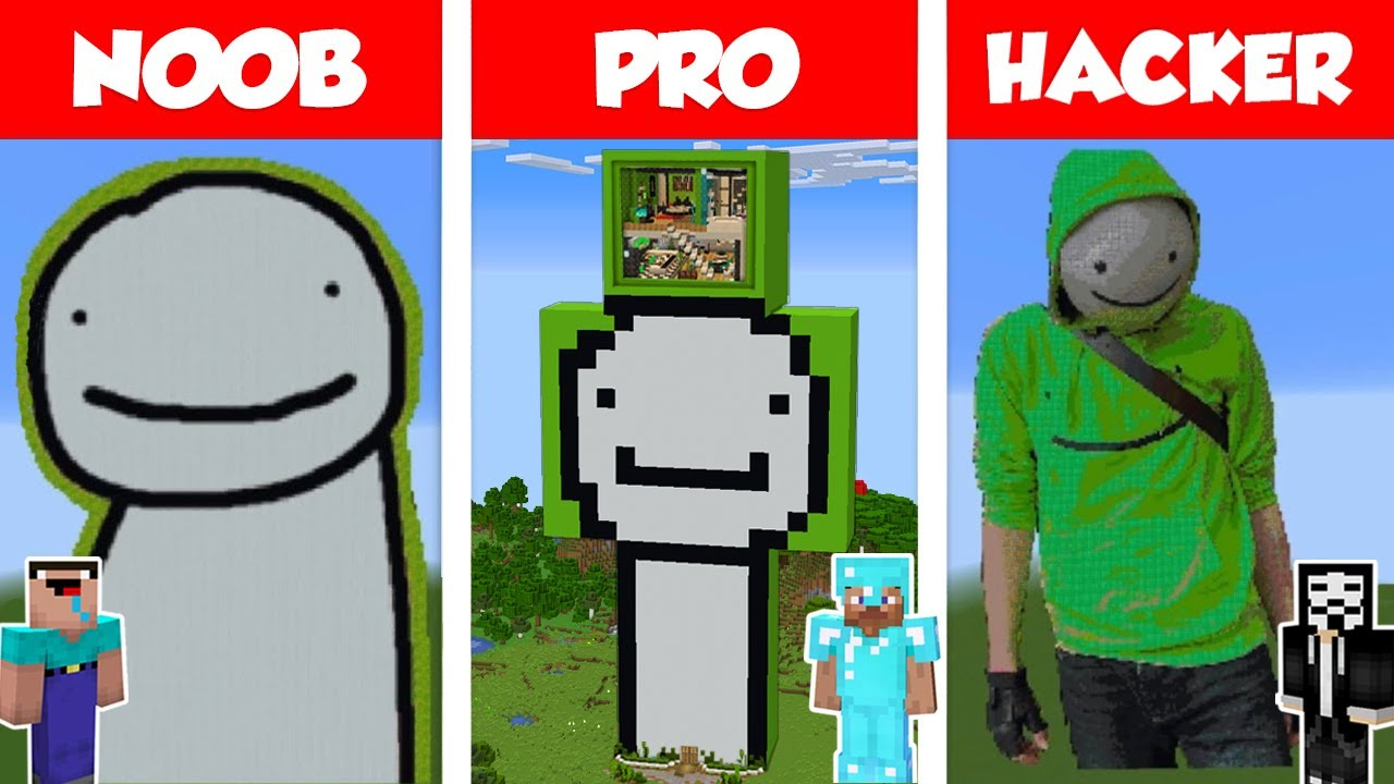 Download Minecraft NOOB vs PRO vs HACKER: DREAM STATUE HOUSE BUILD CHALLENGE in Minecraft / Animation