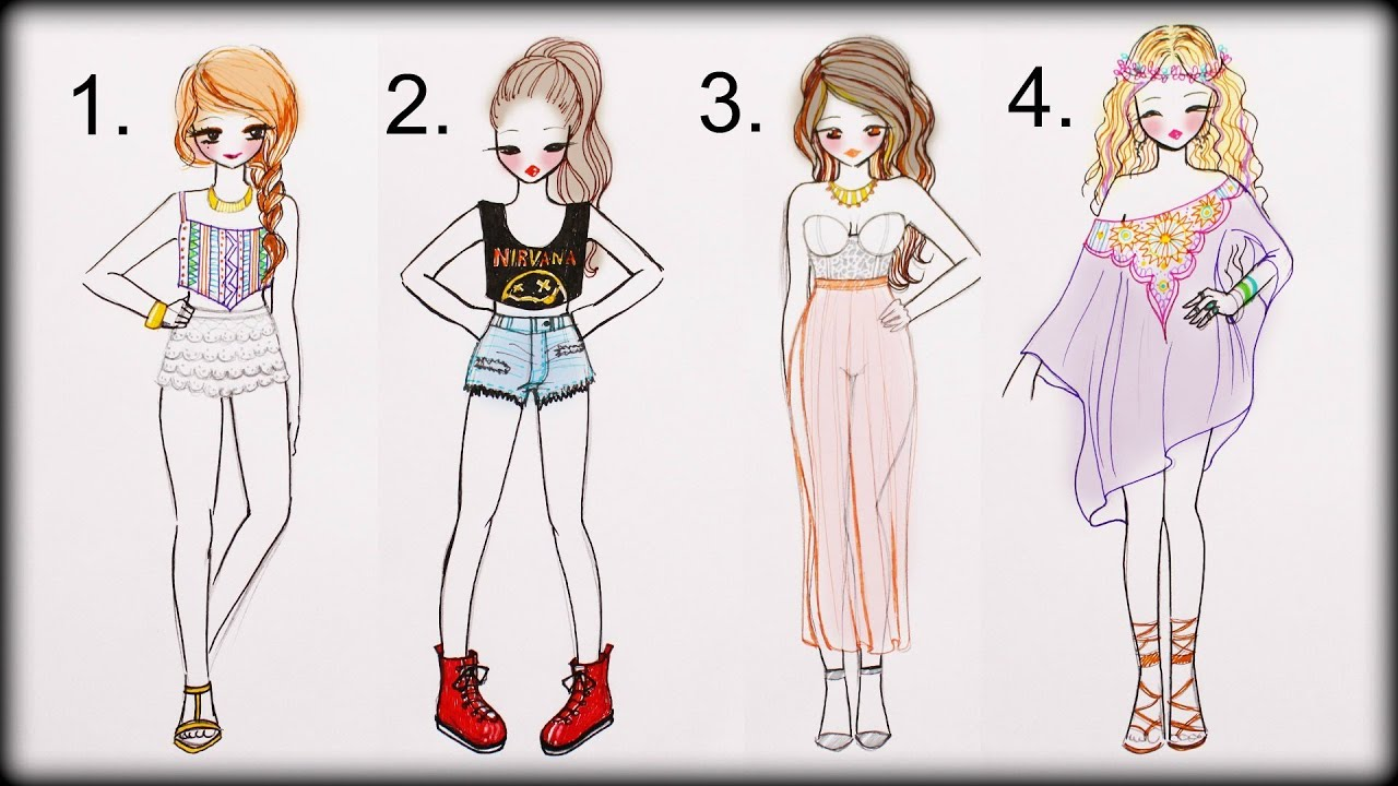 ❤ Drawing Tutorial , How to draw 4 Summer Outfits ❤